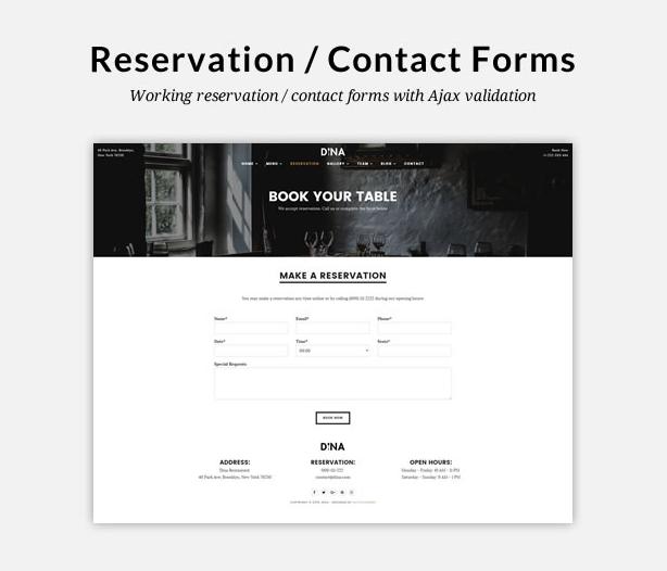 Form đặt bàn trực tuyến.