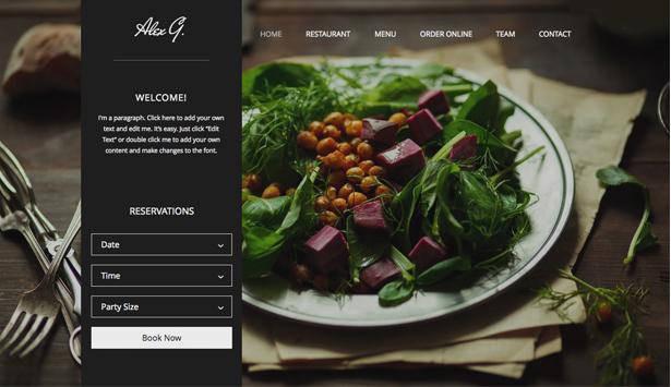 Giao diện chuẩn cho một website nhà hàng.