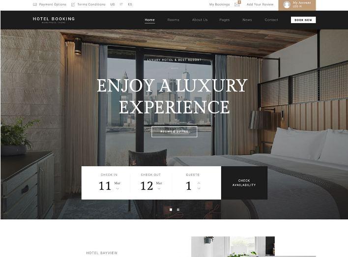 HotelBooking - mẫu website đặt phòng phong cách