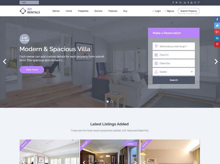Wp Rentals - mẫu website đặt phòng khách sạn chuyên nghiệp