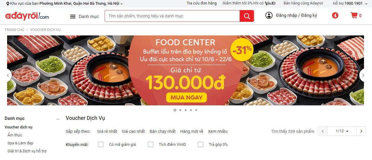 website bán đồ ăn trực tuyến và nhiều sản phẩm khácAdayroi