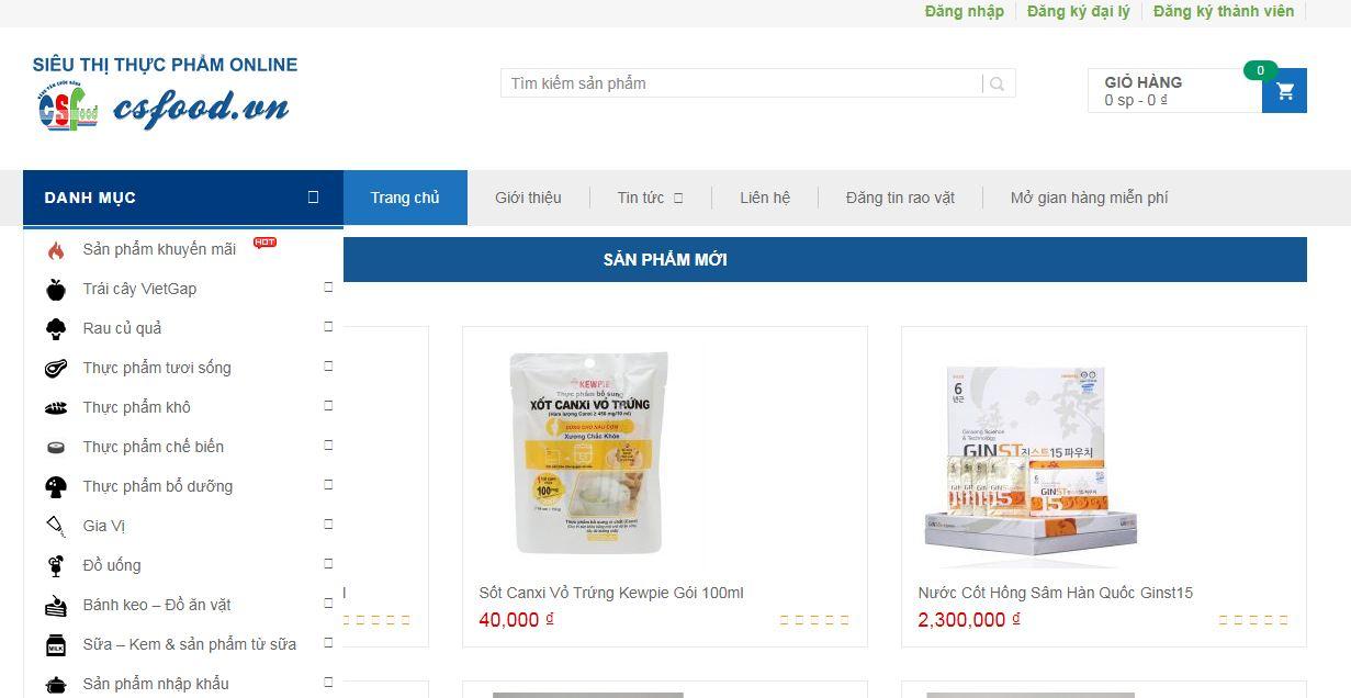 CSfood - website bán đồ ăn trực tuyến, online