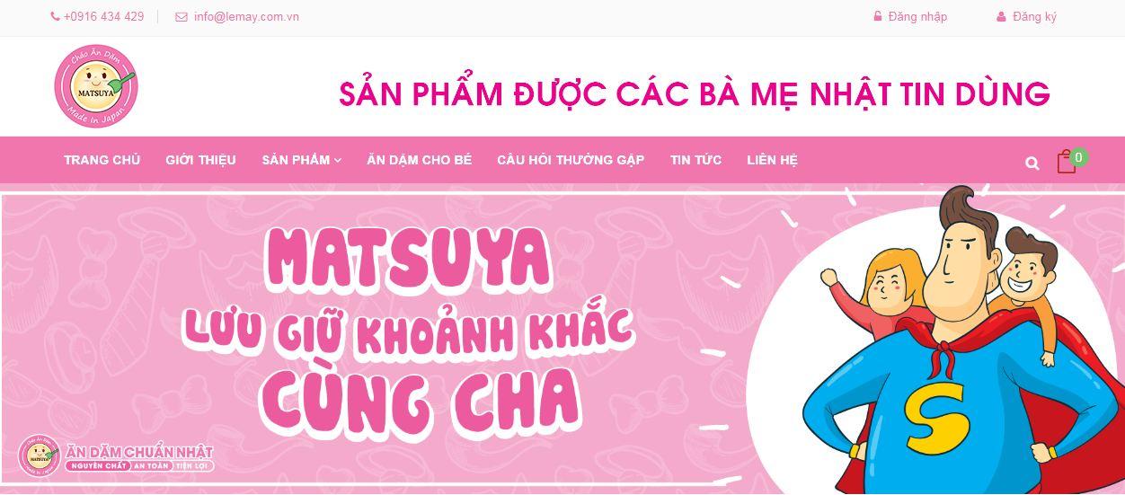 Matsuya website bán cháo ăn dặm cho bé